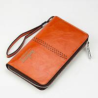 Мужской кошелек клатч портмоне Baellerry Leather W008 светло-коричневый (4474)