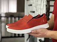 Стильные мужские кожаные мокасины (туфли) Levis,красные