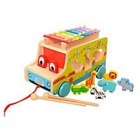 Деревянная игрушка для малышей WoodToys Машинка+ксилофон (MD 1084)