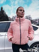 Демисезонная укороченная женская куртка из эко кожи Gsa1186