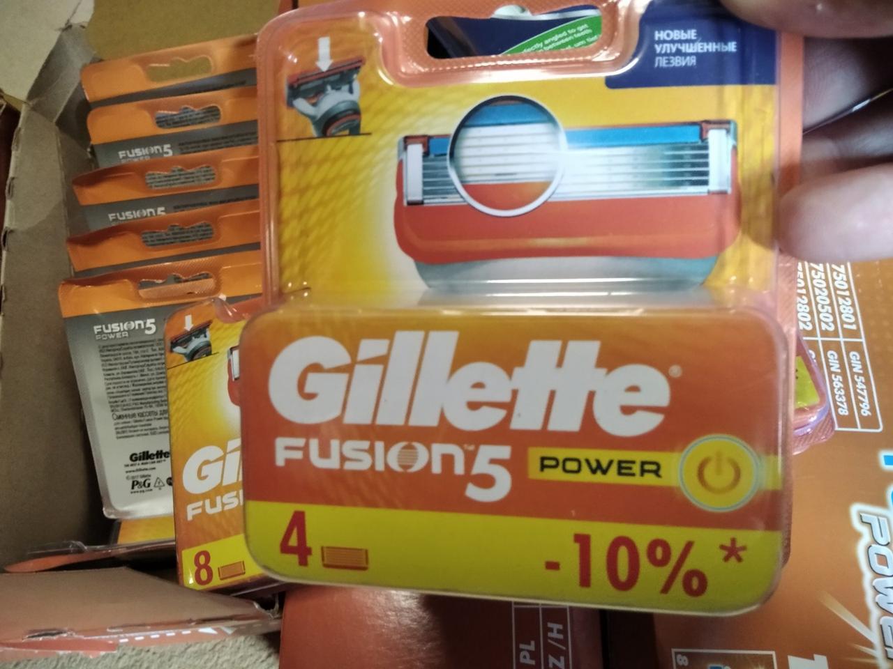 Картриджі, касети (леза) Жилет Ф'южн 5 павер 4 касети / Gillette Fusion power 4 5