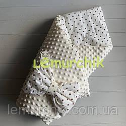 Конверт-одеяло минки на съемном синтепоне молочный Звездочки коричневые