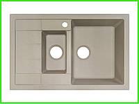 Кухонная гранитная мойка AQUA Айвори / Гранітна мийка