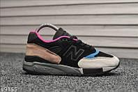 Жіночі кросівки New Balance 998 Чорні замшеві, Репліка, фото 1