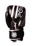 Боксерські рукавиці PowerPlay 3010 Чорно-Білі 10 унцій, фото 4