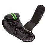 Боксерські рукавиці PowerPlay 3016 Чорно-Зелені 12 унцій, фото 5