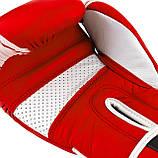 Боксерські рукавиці PowerPlay 3023 A Червоно-Білі [натуральна шкіра] 16 унцій, фото 5