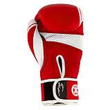Боксерські рукавиці PowerPlay 3023 A Червоно-Білі [натуральна шкіра] 16 унцій, фото 7