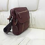 Молодежная кожаная мужская сумка коричневая, фото 2