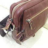 Молодежная кожаная мужская сумка коричневая, фото 3