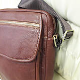 Молодежная кожаная мужская сумка коричневая, фото 5