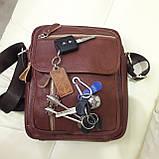 Молодежная кожаная мужская сумка коричневая, фото 6