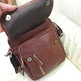 Молодежная кожаная мужская сумка коричневая, фото 7