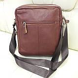 Молодежная кожаная мужская сумка коричневая, фото 8