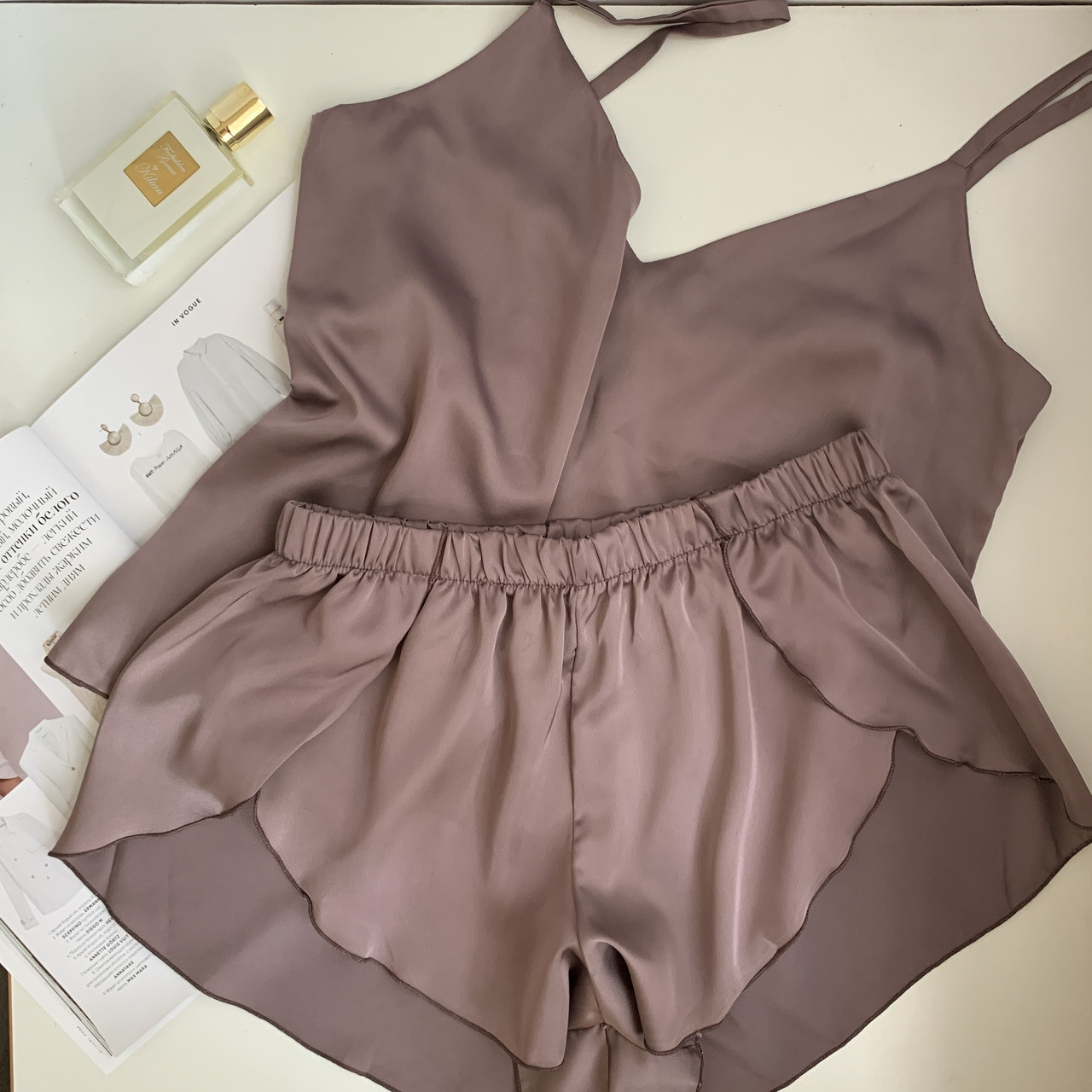 Пижама шелковая женская маечка и шортики Orli Diva