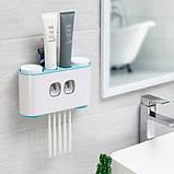 Дозатор зубной пасты держатель зубных щеток для ванной Ecoco семейный диспенсер (SUN3971с), фото 3