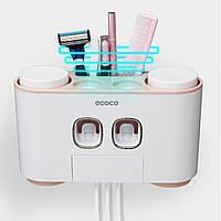 Дозатор зубной пасты держатель зубных щеток для ванной Ecoco семейный диспенсер (розовый) (SUN3971)