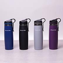 Спортивный термос-бутылка Kamille Сиреневый 500мл из нержавеющей стали с трубочкой и клипсой KM-2058SR, фото 2