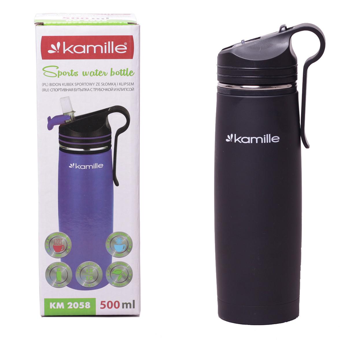 Спортивный термос-бутылка Kamille Черный 500мл из нержавеющей стали с трубочкой и клипсой KM-2058BL