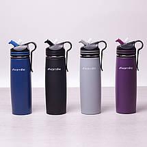 Спортивный термос-бутылка Kamille Черный 500мл из нержавеющей стали с трубочкой и клипсой KM-2058BL, фото 3