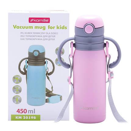 Термобутылка детская Kamille Розовый 450мл из нержавеющей стали KM-2019BRZ, фото 2