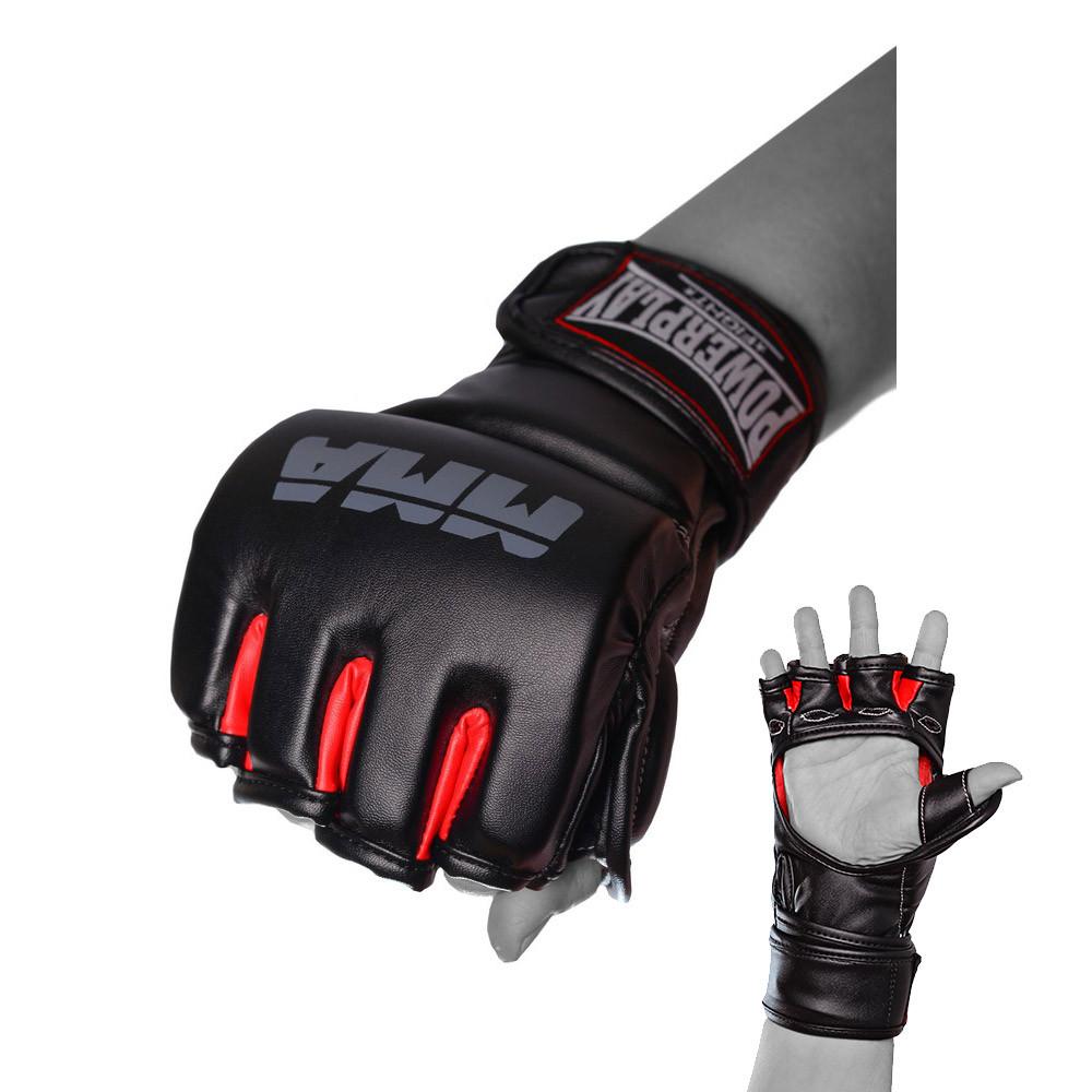 Перчатки для MMA PowerPlay 3053 Чорно-Червоні S/M