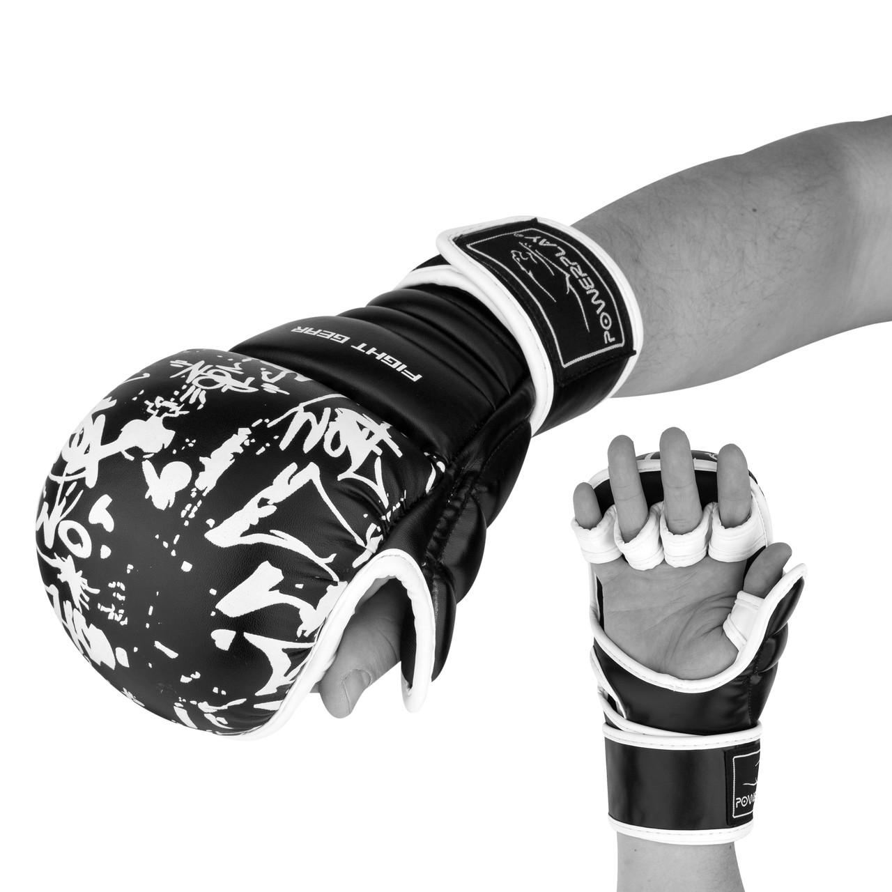 Перчатки для карате PowerPlay 3092KRT Чорні-Білі S