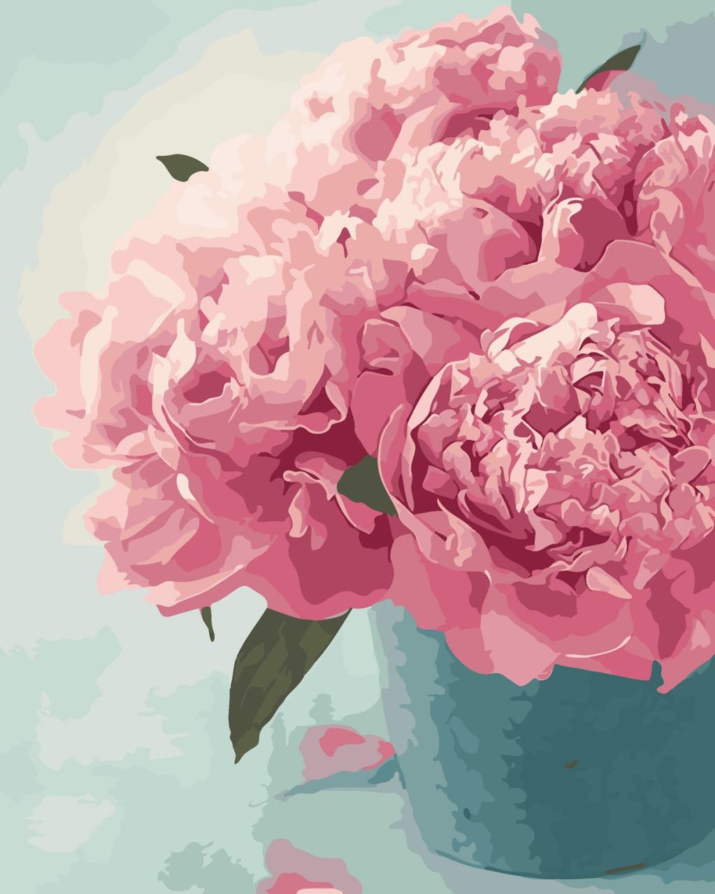 """Картина по номерам """"Розовые пионы"""" 40*50 см в коробке, ArtStory + акриловый лак"""