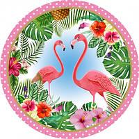 """Тарелки бумажные одноразовые детские """" Фламинго """" 18 см,10 шт"""