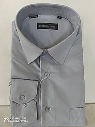 Мужская рубашка серая Ferrero Gizzi классическая однотонная с длинным рукавом