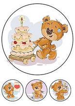 Вафельная картинка Мишутка с тортиком