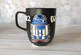 """Большая подарочная чашка с 3D декором из полимерной глины Чашки-милашки """"R2-D2"""""""