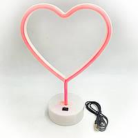 Неоновий світильник нічник лампа настільна декоративна Neon Decoration Lamp Серце червоне світло