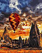 """Картина за номерами """"Захід сонця на повітряній кулі"""" 40*50 см в коробці, ArtStory + акриловий лак"""