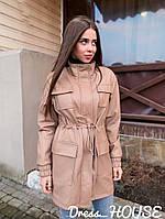 Тренч женский трендовый из эко кожи с кулисой и накладными карманами Gsa1183