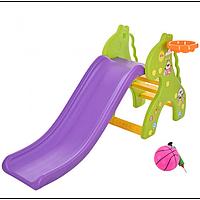 Детская пластиковая горка с баскетбольным кольцом Жираф YG2016-16-2