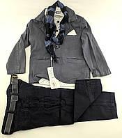 Детские костюмы 1, 2, 3, 4 года Турция нарядные джинсовый для мальчиков серый (КД4)