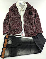 Детские костюмы 5, 6, 7 лет Турция нарядные джинсовый для мальчиков бордовый (КД5)