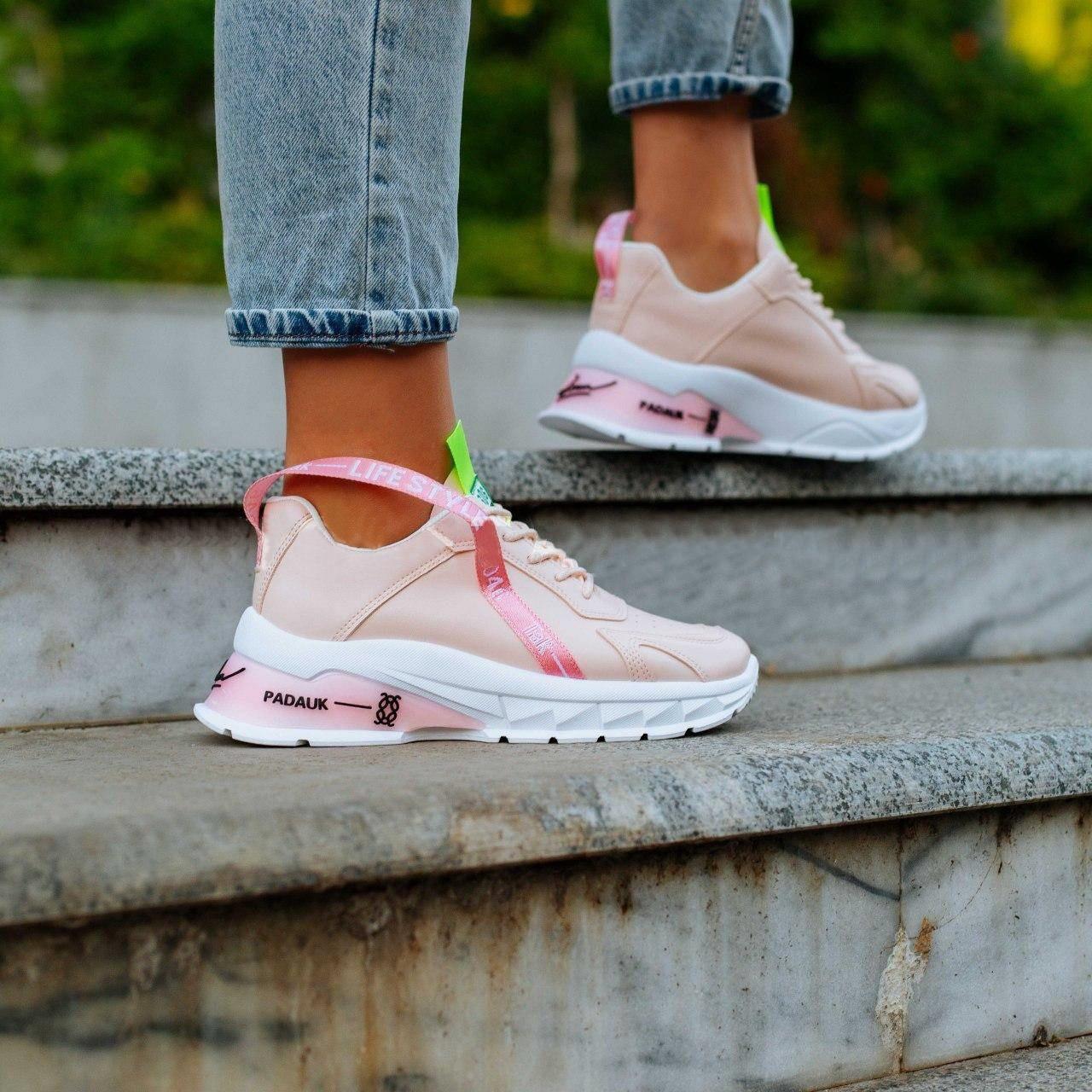 Женские кроссовки на фигурной подошве, замеры в описании (Розовые)