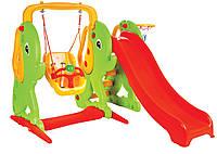 Детский игровой комплекс Горка с качелями и баскетбольным кольцом ELEPHANT 06-161