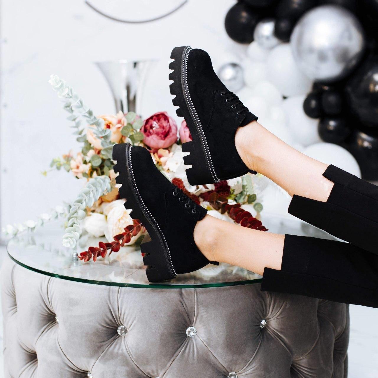 Женские туфли на шнуровке, замеры в описании  (Черные)