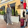 Р 42-48 Длинное трикотажное платье с карманами Батал 22083-1