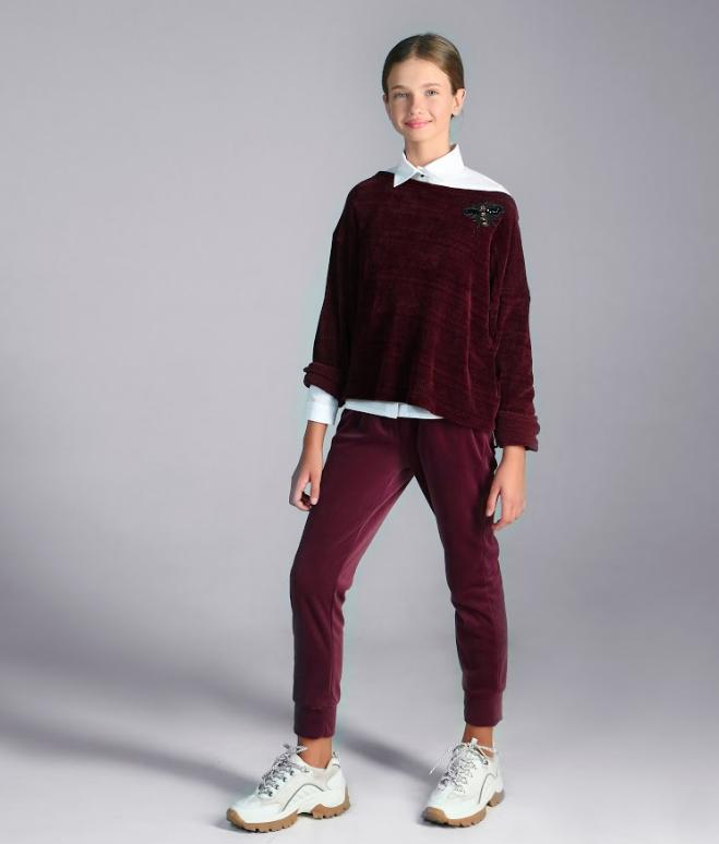 Бордовые бархатные брюки для девочки  тм Моне р-р 128,134,140,146,152