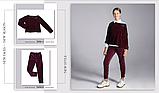 Бордовые бархатные брюки для девочки  тм Моне р-р 128,134,140,146,152, фото 4