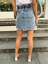 Голубая джинсовая юбка высокой посадки на пуговицах 34-40 р, фото 3