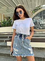 Голубая джинсовая юбка высокой посадки на пуговицах 34-40 р, фото 2