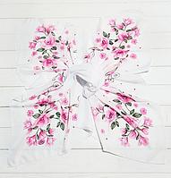 Легкий платок Angel София 95*95 см белый/розовый