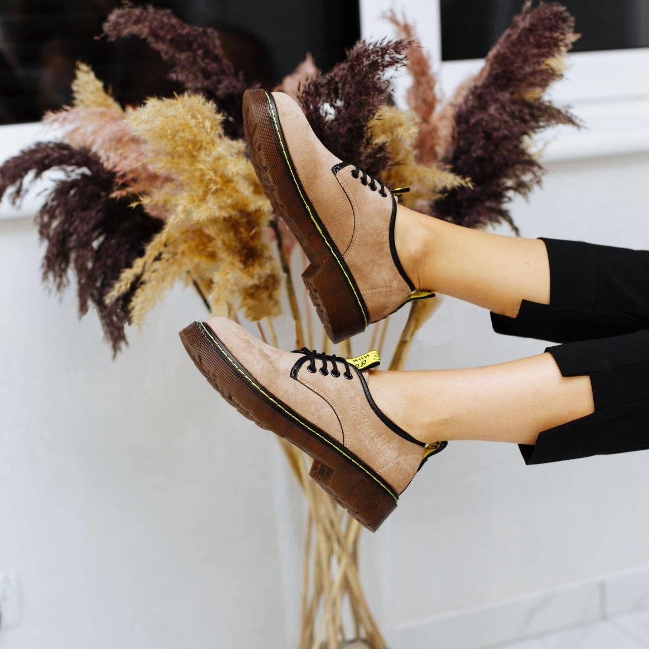 Женские туфли на шнуровке в замше, замеры в описании  (Бежевые)