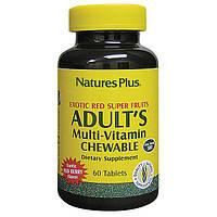 Мультивитамины для Взрослых, Вкус Ягод, Natures Plus, 60 жевательных таблеток