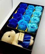 Подарочный набор мыло из роз и плюшевым мишкой в синем цвете (PNR-016) Подарок девушке, фото 4
